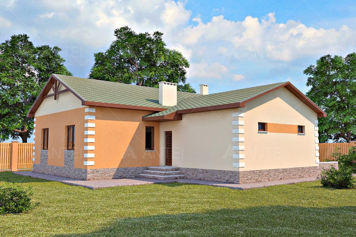 Проект одноэтажного дома с гаражом «КО-27» - фото №1