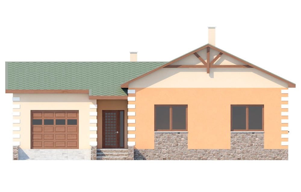 Фасад одноэтажного дома с гаражом «КО-27» - спереди