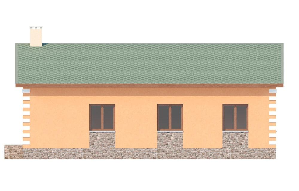 Фасад одноэтажного дома с гаражом «КО-27» - справа