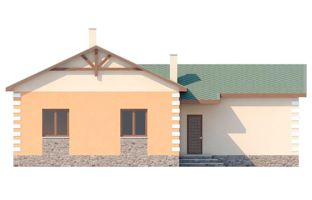 Фасад одноэтажного дома с гаражом «КО-27» - сзади