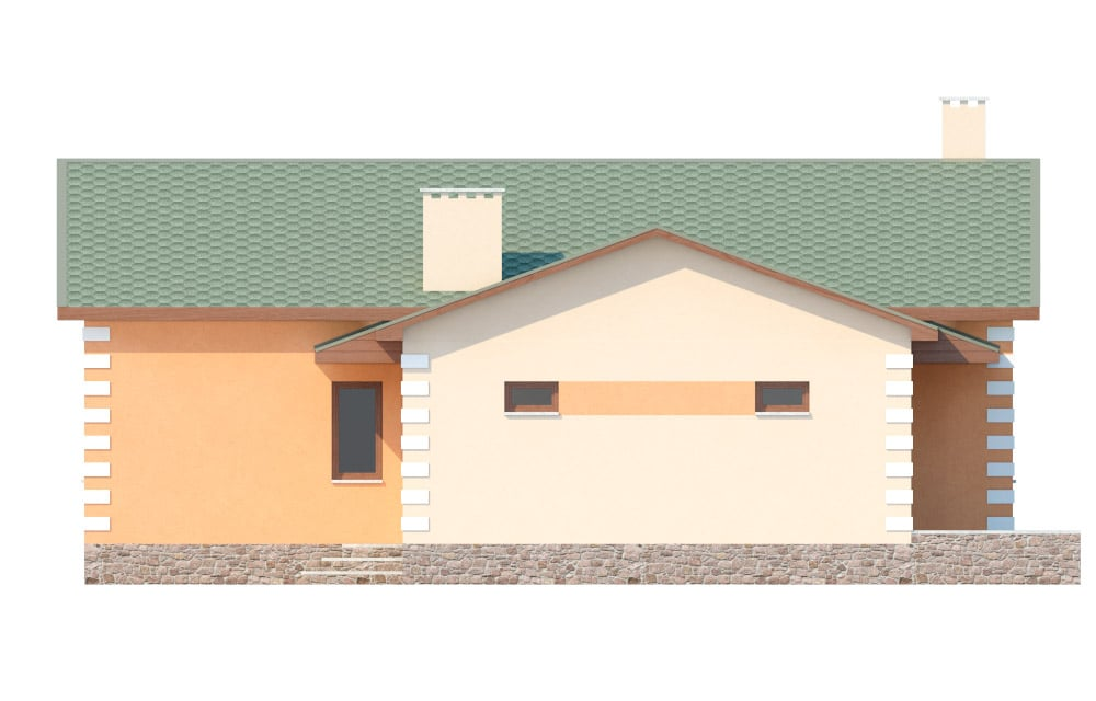 Фасад одноэтажного дома с гаражом «КО-27» - слева