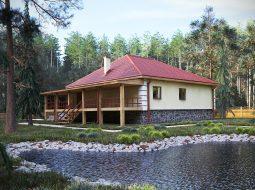 Проект одноэтажного дома с цокольным этажом и террасой «КО-29»