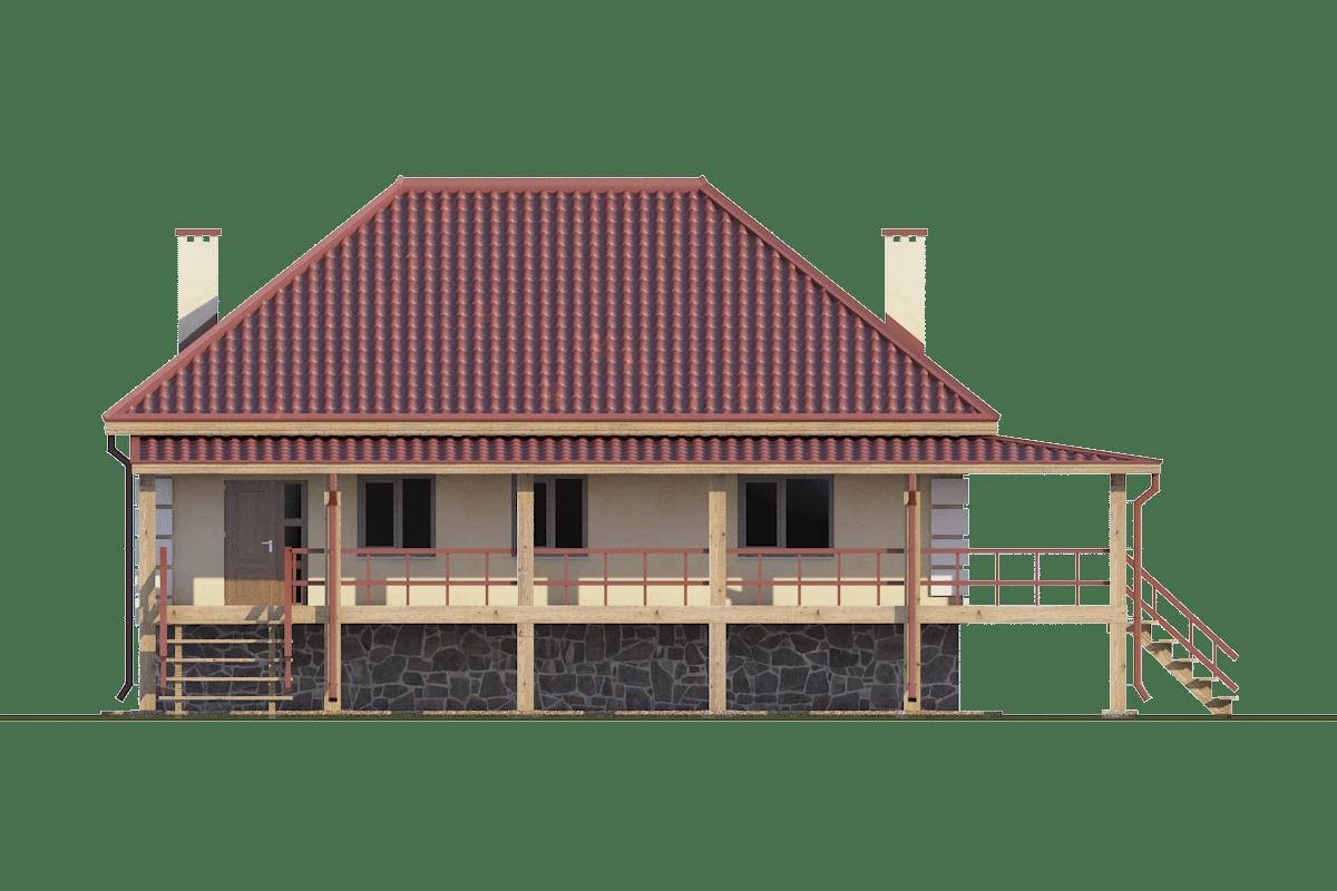 Фасад одноэтажного дома с цокольным этажом и террасой «КО-29» спереди