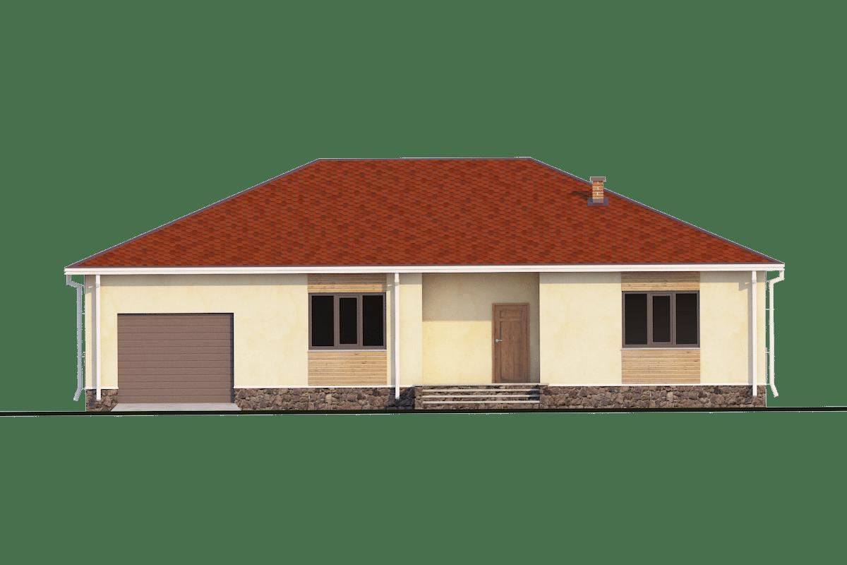 Фасад одноэтажного дома с гаражом «КО-31» - спереди