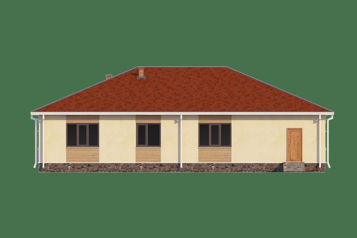 Фасад одноэтажного дома с гаражом «КО-31» - сзади
