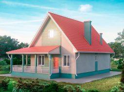 Проект одноэтажного дома с террасой «КО-34»