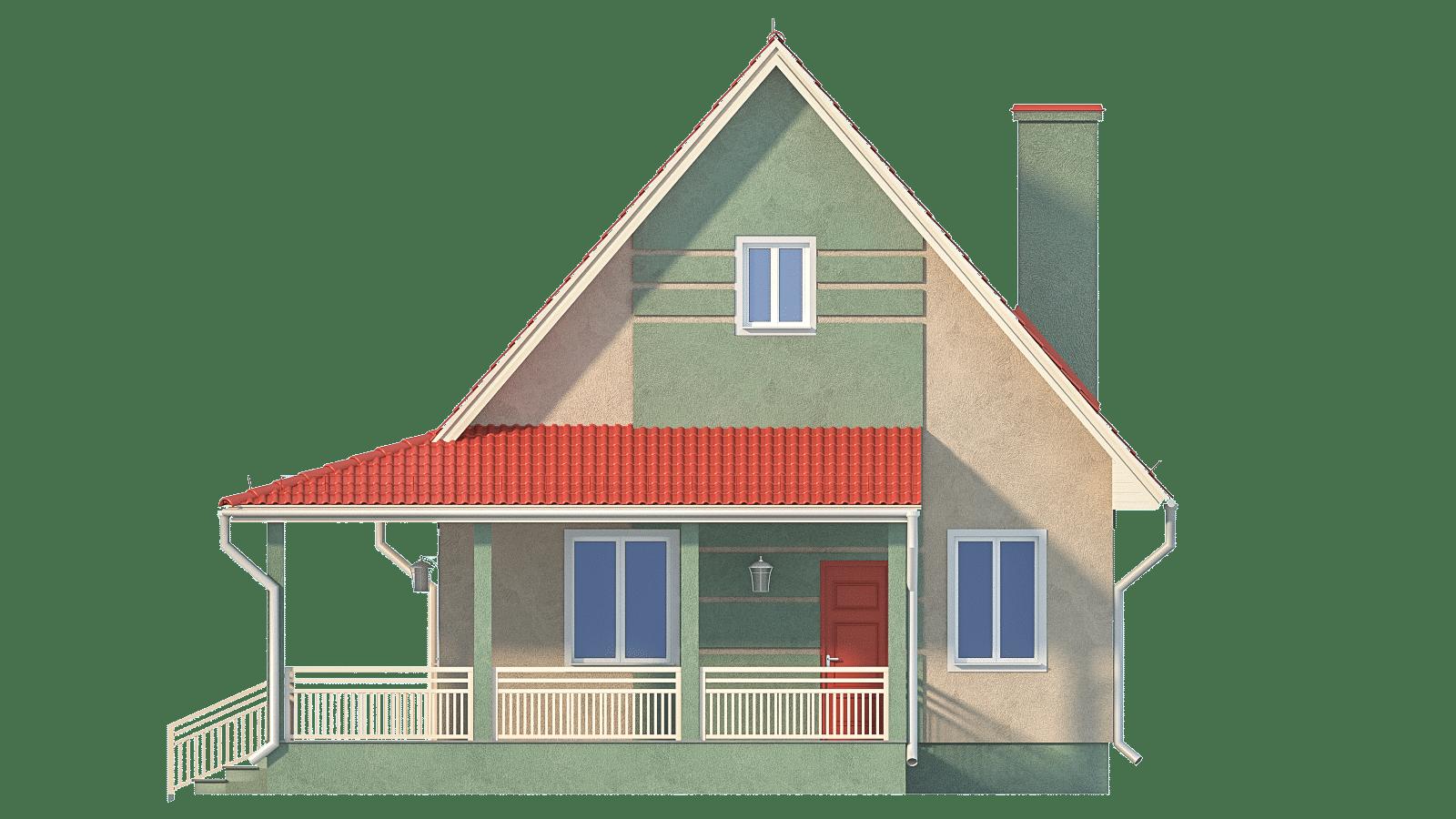 Фасад одноэтажного дома с террасой «КО-34» - справа