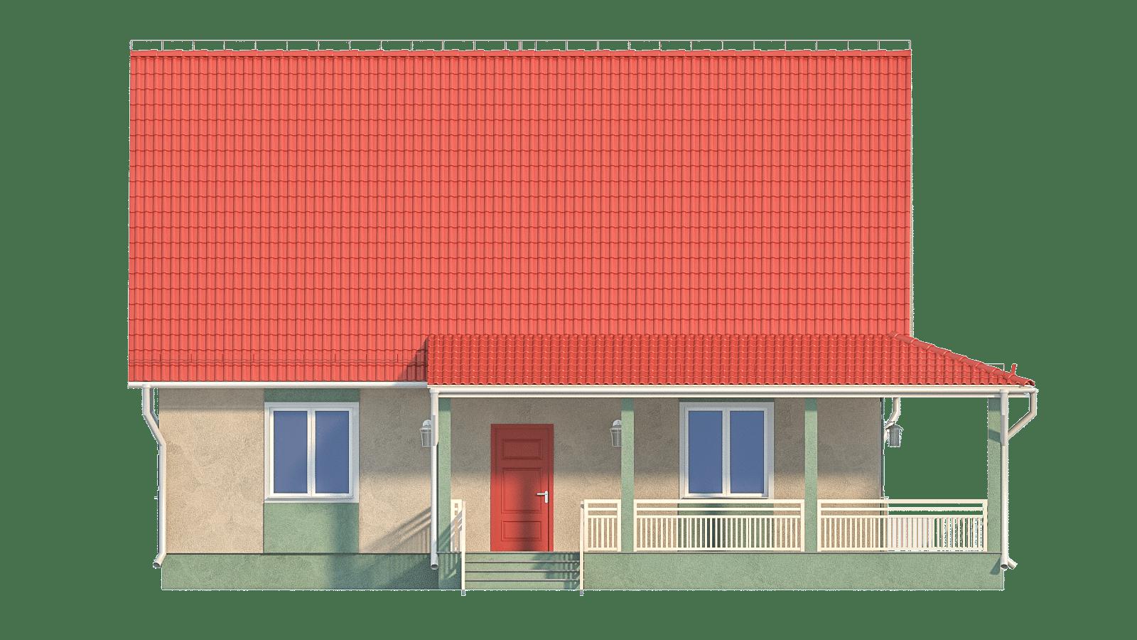 Фасад одноэтажного дома с террасой «КО-34» - спереди