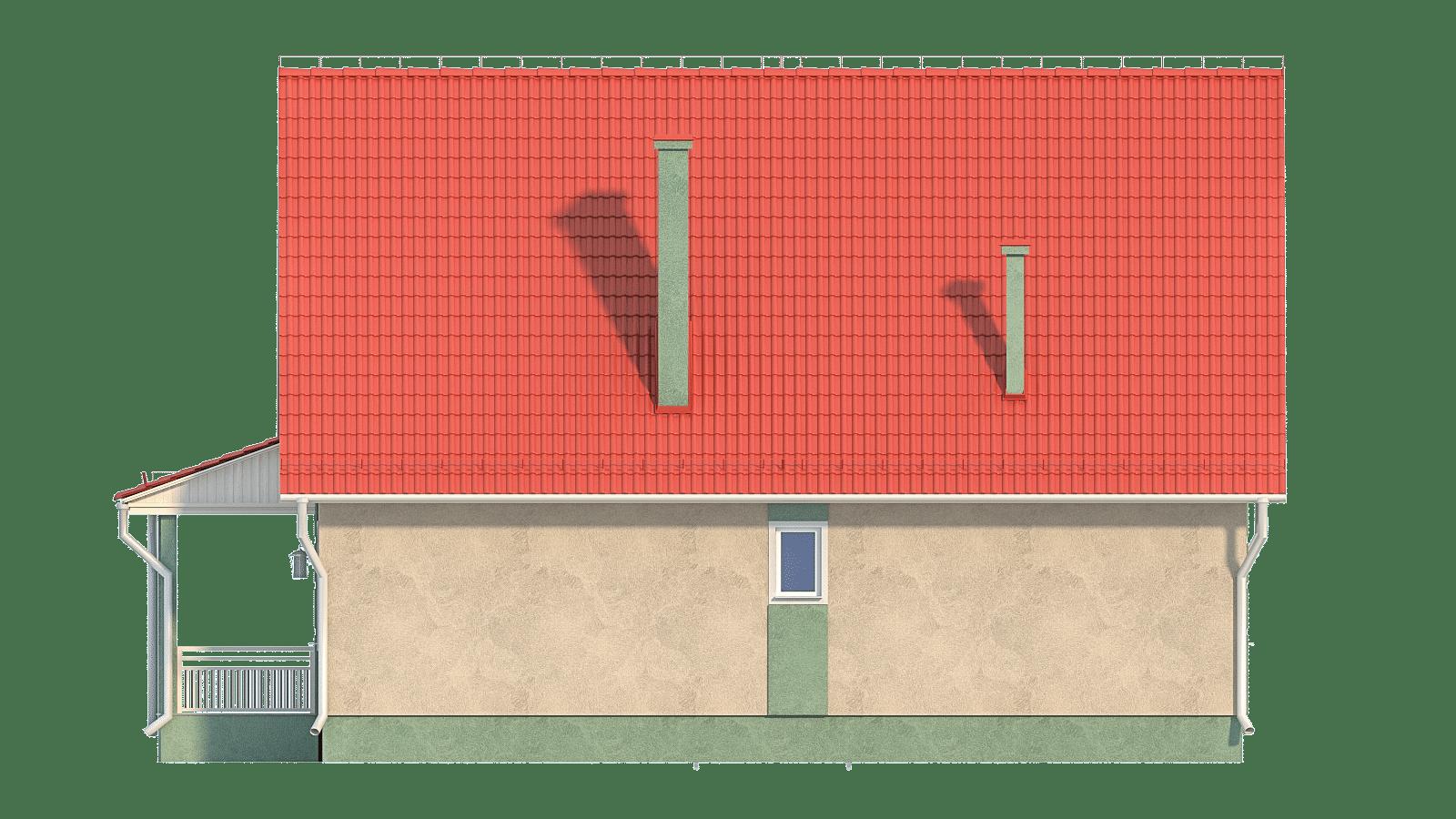 Фасад одноэтажного дома с террасой «КО-34» - сзади