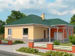 Проект одноэтажного дома с гаражом и террасой «КО-35»