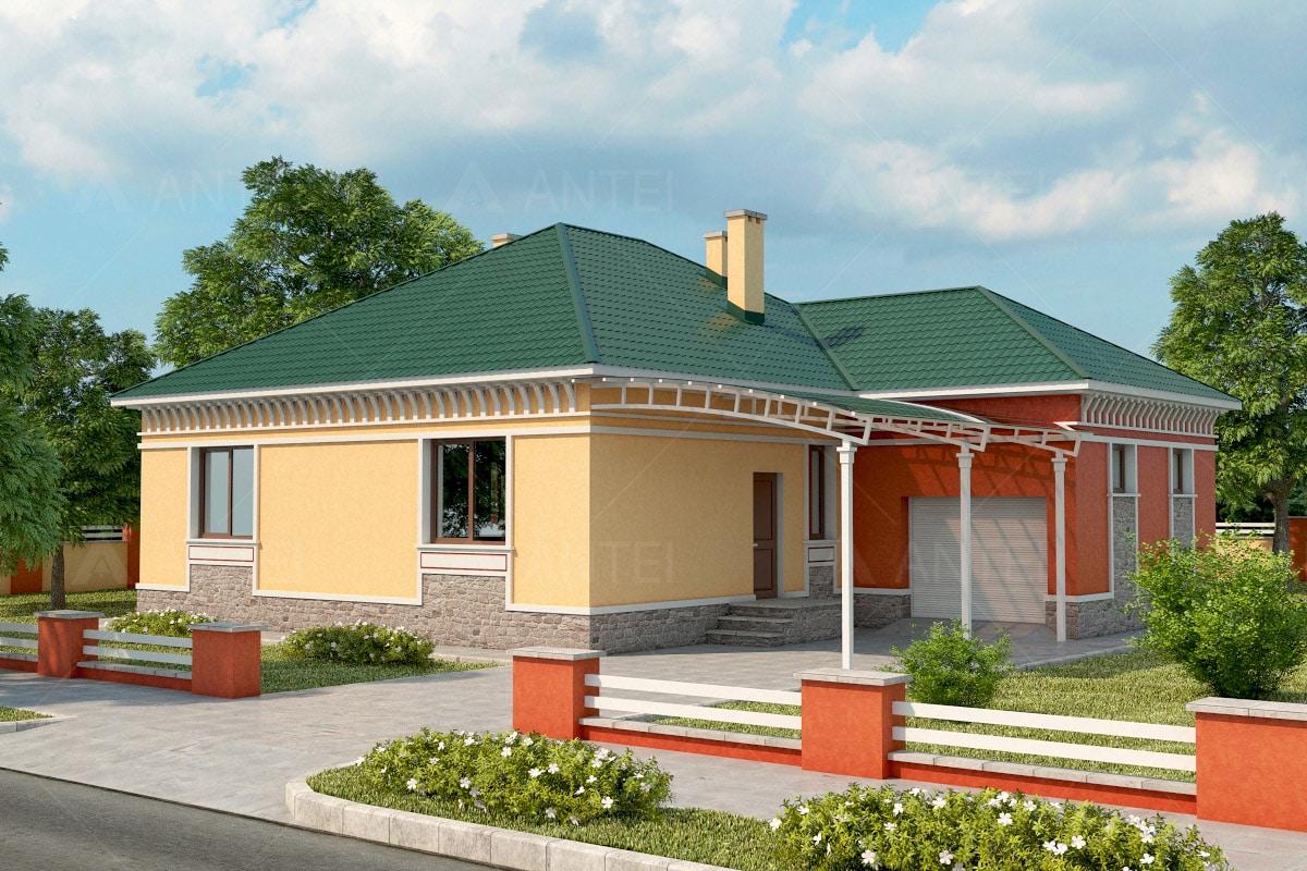 Проект одноэтажного дома с гаражом и террасой «КО-35» - фото №2