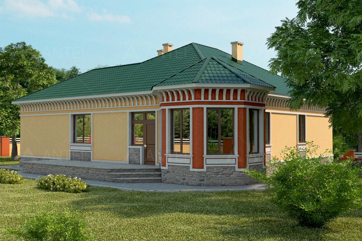 Проект одноэтажного дома с гаражом и террасой «КО-35» - фото №1