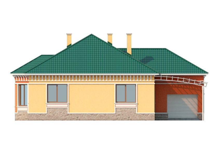 Фасад одноэтажного дома с гаражом и террасой «КО-35» - спереди