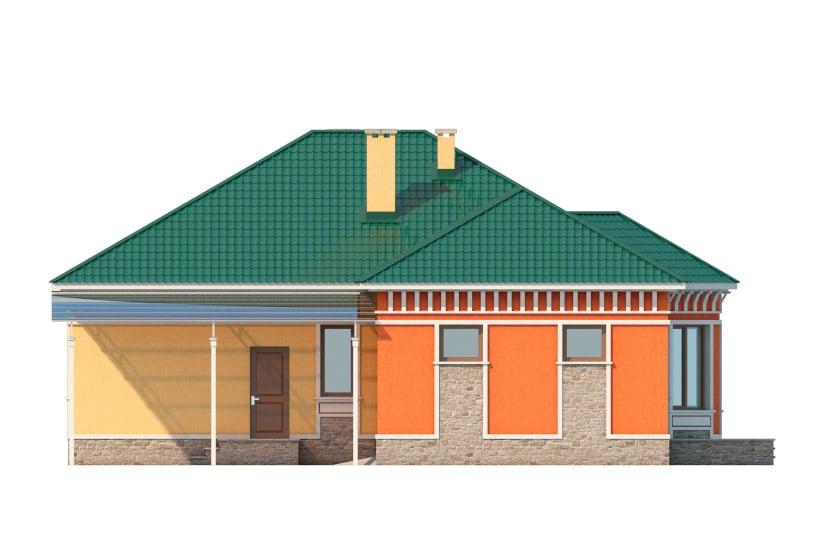 Фасад одноэтажного дома с гаражом и террасой «КО-35» - справа