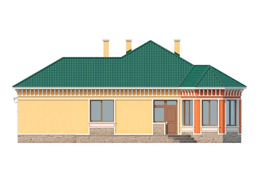 Фасад одноэтажного дома с гаражом и террасой «КО-35» - сзади