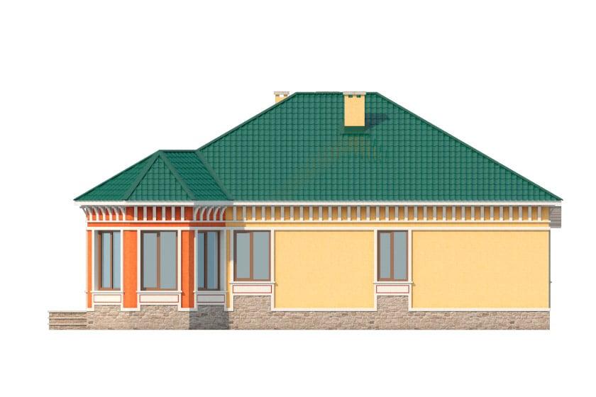 Фасад одноэтажного дома с гаражом и террасой «КО-35» - слева