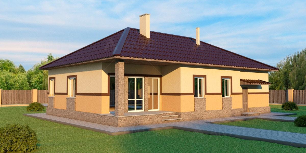 Проект одноэтажного дома с гаражом и террасой «КО-39» - фото №2