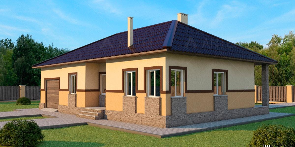 Проект одноэтажного дома с гаражом и террасой «КО-39» - фото №1
