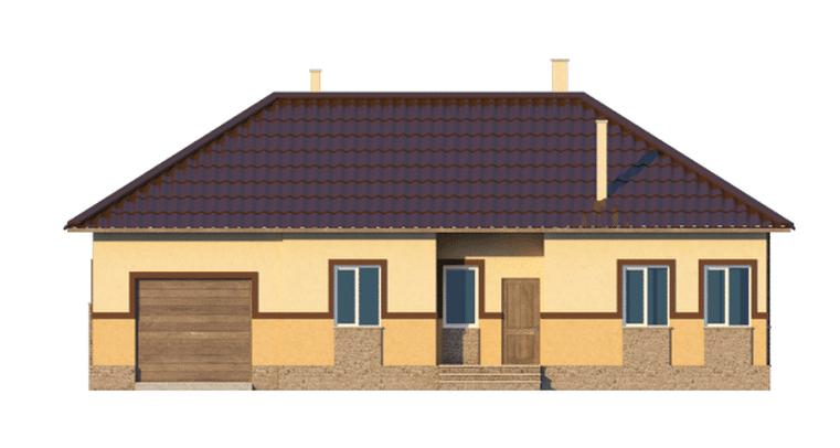 Фасад одноэтажного дома с гаражом и террасой «КО-39» - спереди