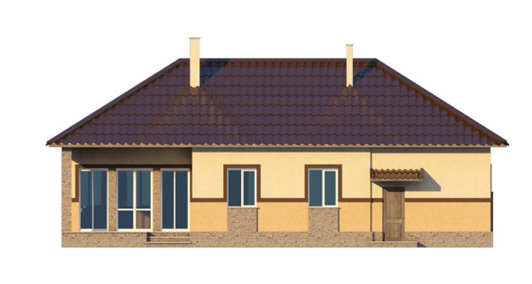 Фасад одноэтажного дома с гаражом и террасой «КО-39» - сзади