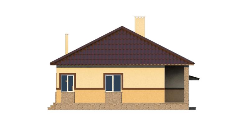 Фасад одноэтажного дома с гаражом и террасой «КО-39» - справа