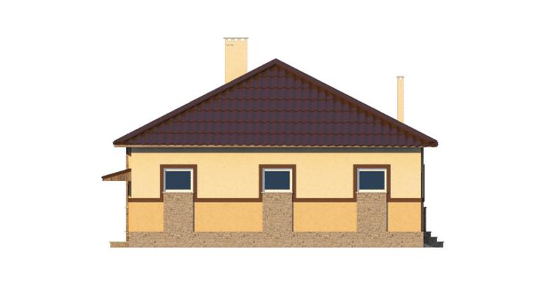 Фасад одноэтажного дома с гаражом и террасой «КО-39» - слева