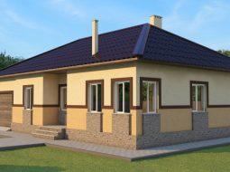 Проект одноэтажного дома с гаражом и террасой «КО-39»