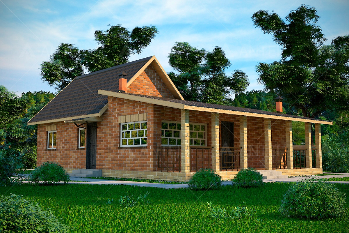 Проект одноэтажного дома с террасой «КО-41» - фото №1