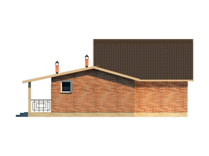 Фасад одноэтажного дома с террасой «КО-41» - слева