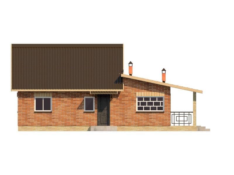 Фасад одноэтажного дома с террасой «КО-41» - спереди