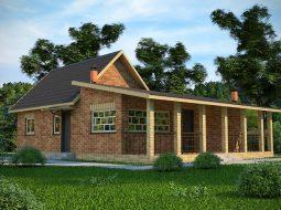 Проект одноэтажного дома с террасой «КО-41»
