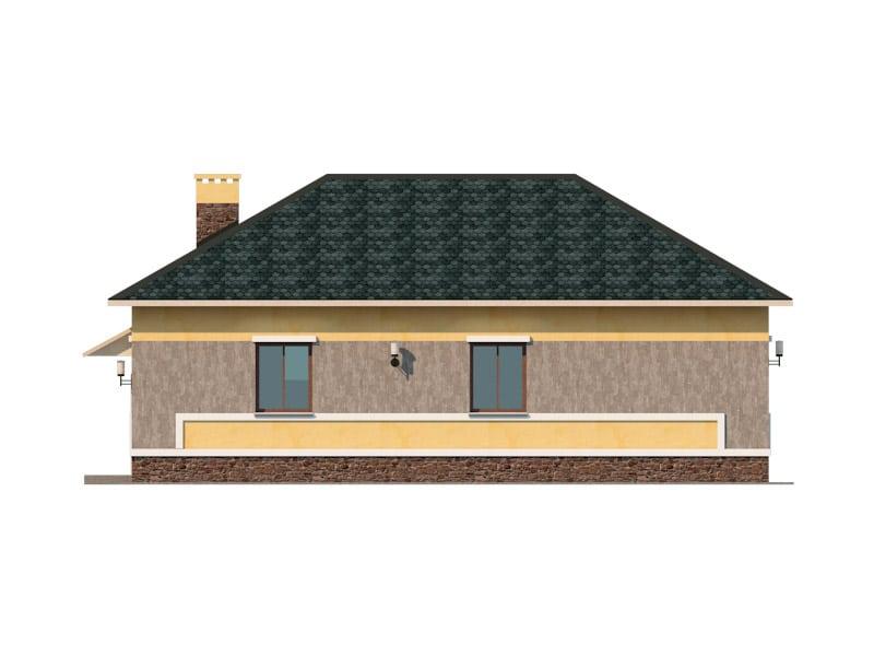 Фасад одноэтажного дома с гаражом «КО-45» - слева