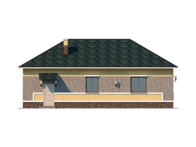 Фасад одноэтажного дома с гаражом «КО-45» - сзади