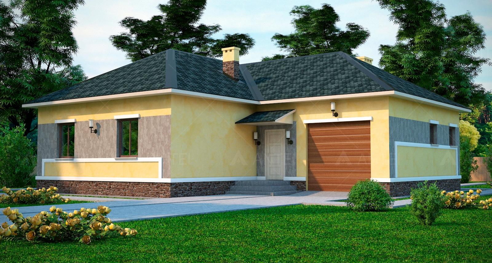Проект одноэтажного дома с гаражом «КО-45» - фото №1