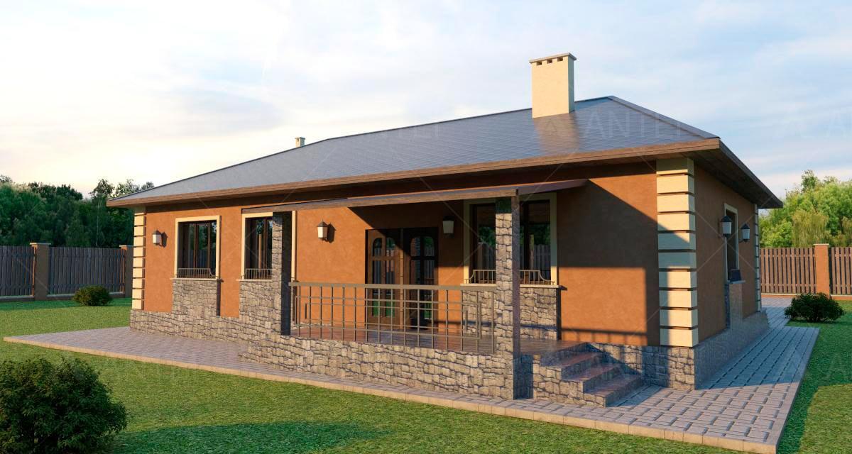 Проект одноэтажного дома с террасой «КО-46» - фото №2