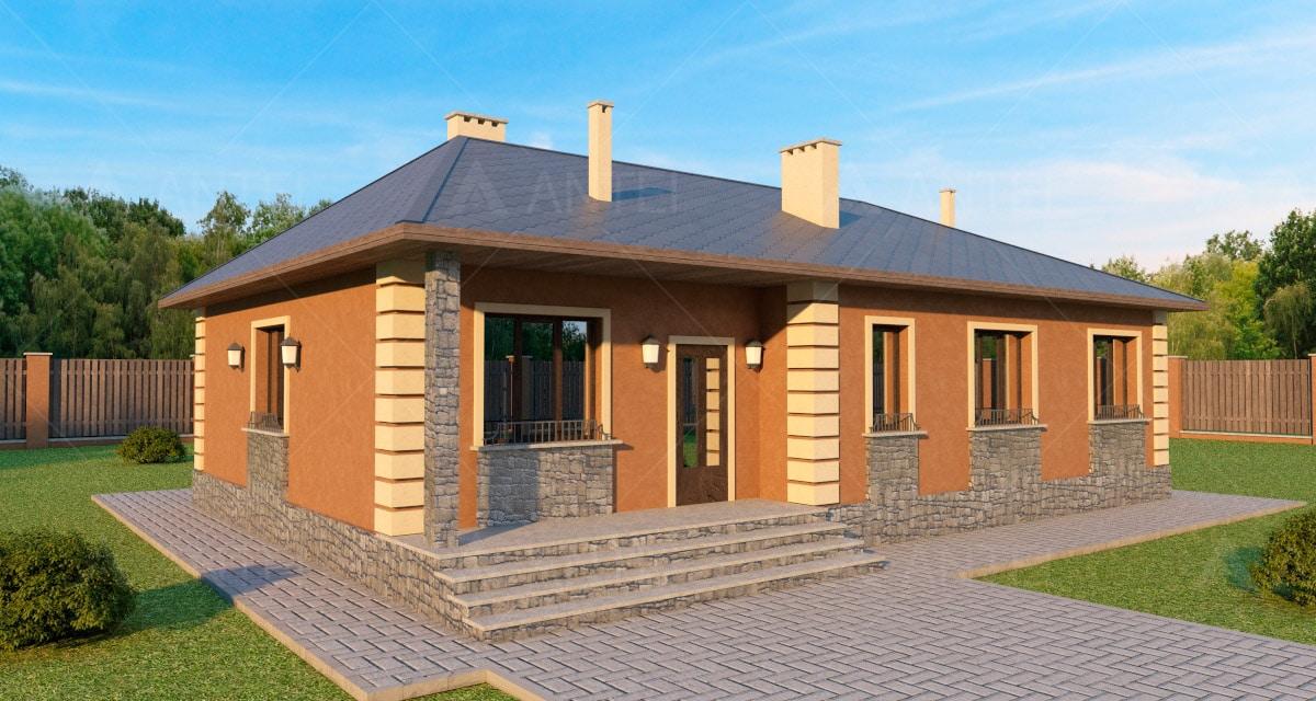Проект одноэтажного дома с террасой «КО-46» - фото №1