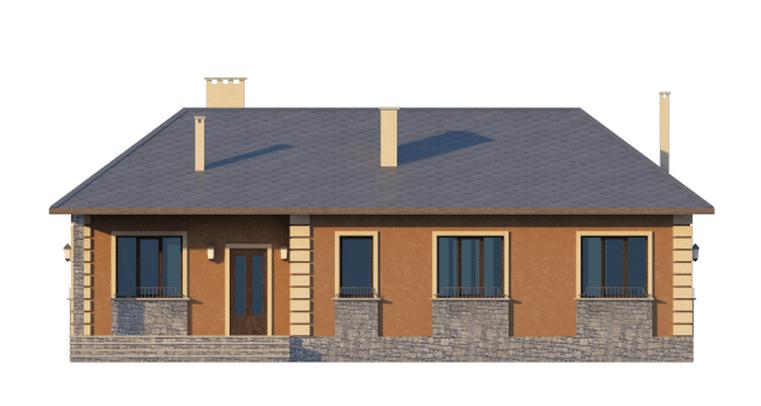 Фасад одноэтажного дома с террасой «КО-46» - спереди