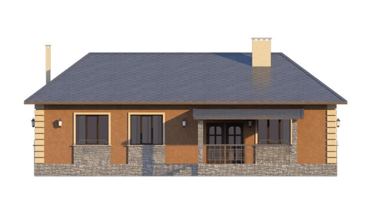 Фасад одноэтажного дома с террасой «КО-46» - сзади