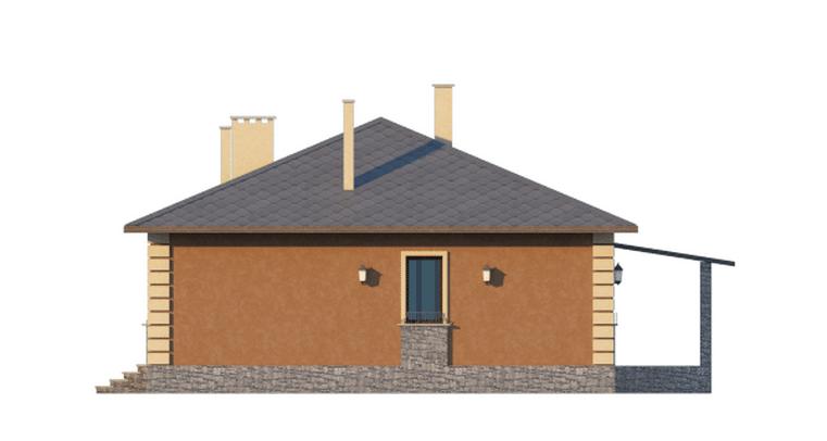 Фасад одноэтажного дома с террасой «КО-46» - справа