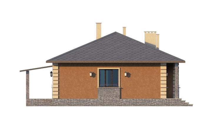 Фасад одноэтажного дома с террасой «КО-46» - слева