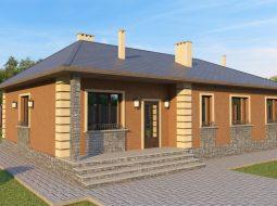 Проект одноэтажного дома с террасой «КО-46»