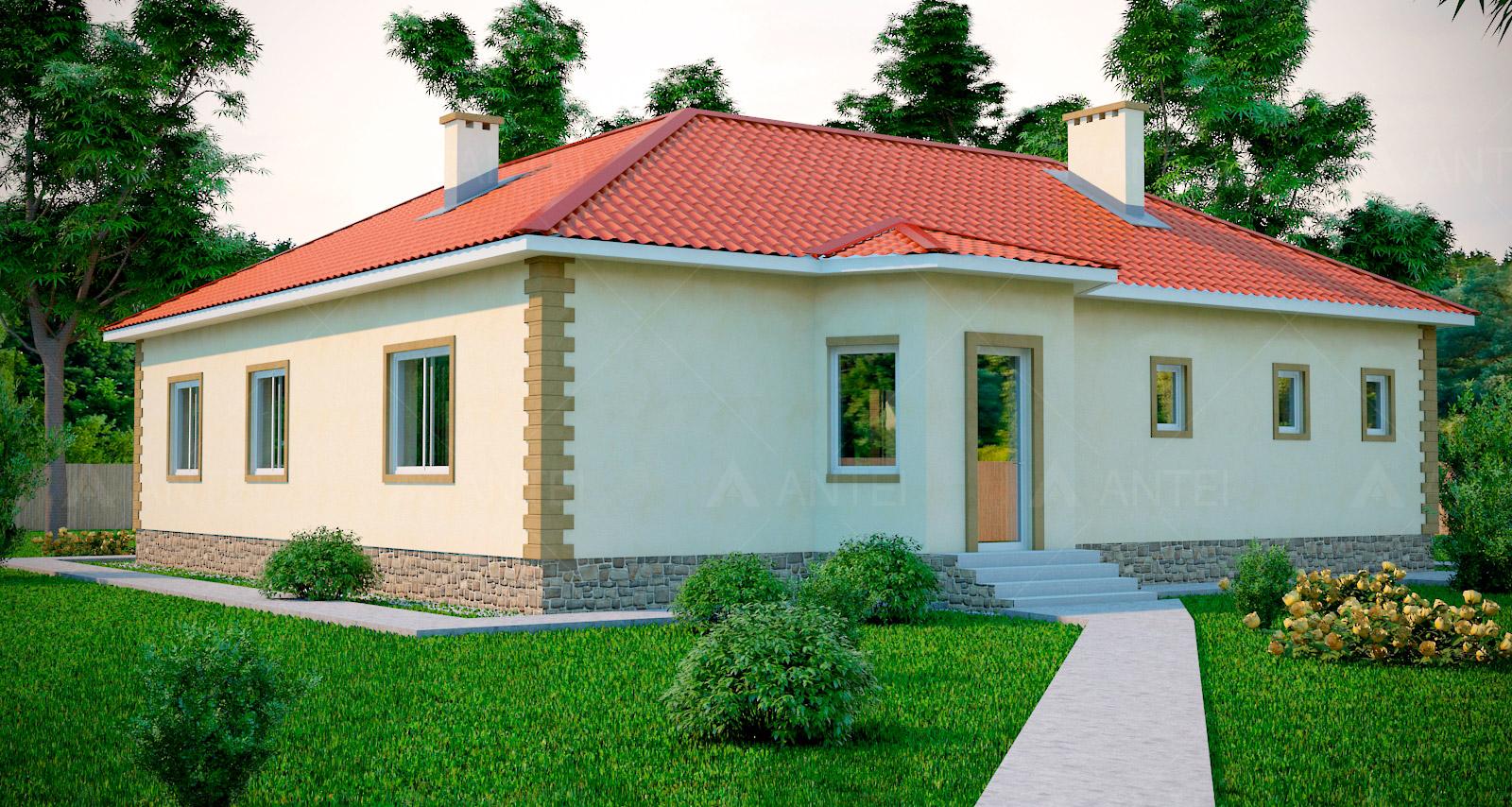Проект одноэтажного дома с гаражом «КО-47» - фото №1