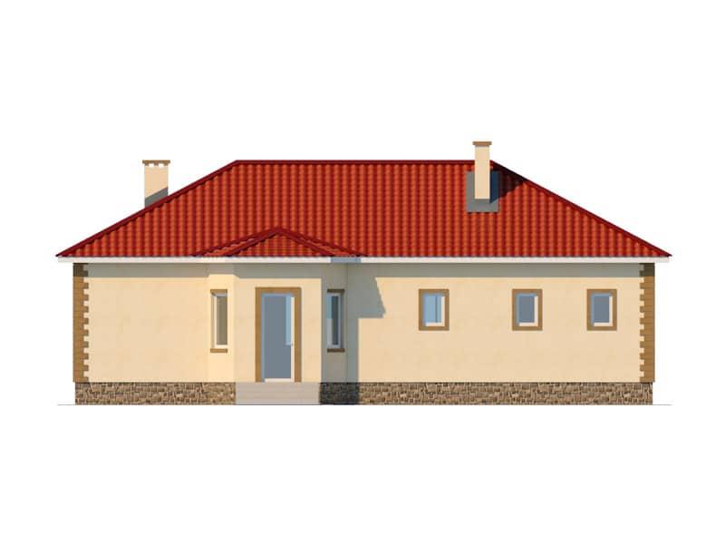 Фасад одноэтажного дома с гаражом «КО-47» - сзади
