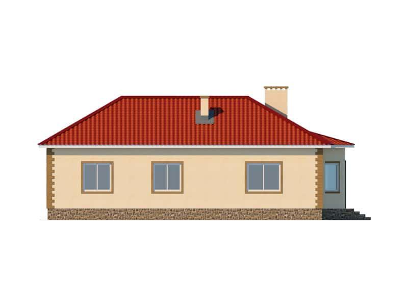 Фасад одноэтажного дома с гаражом «КО-47» - справа