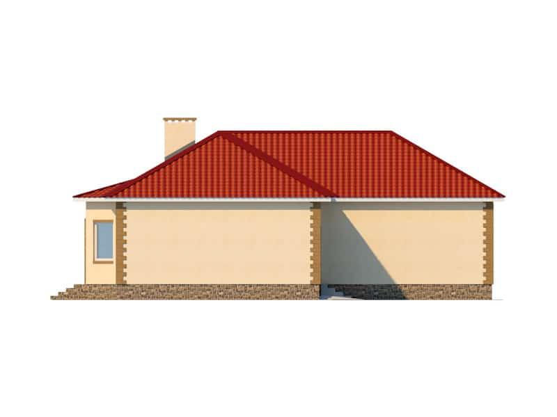 Фасад одноэтажного дома с гаражом «КО-47» - слева
