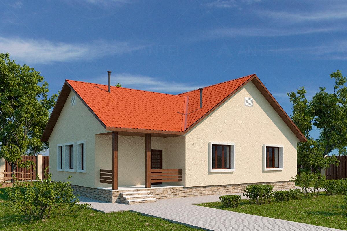 Проект одноэтажного дома с террасой «КО-49» - фото №1