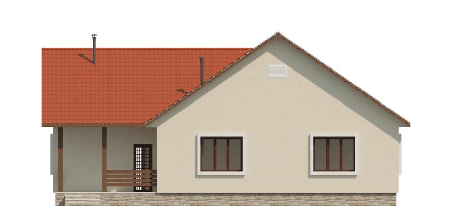 Фасад одноэтажного дома с террасой «КО-49» - сзади