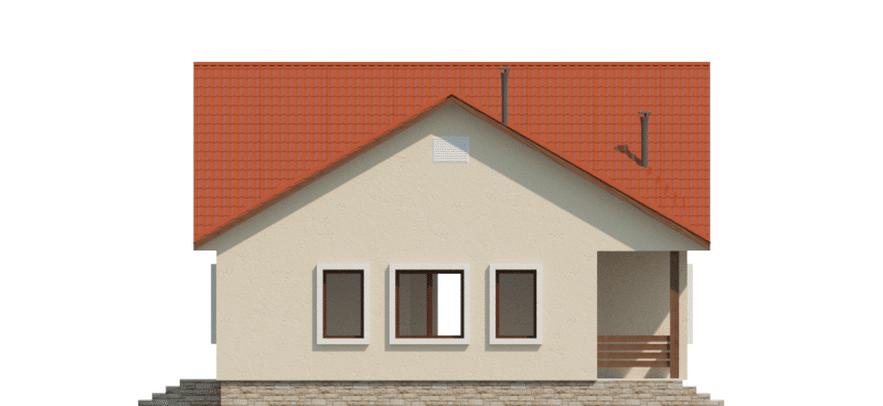 Фасад одноэтажного дома с террасой «КО-49» - справа