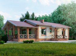 Проект одноэтажного дома с террасой «КО-50»