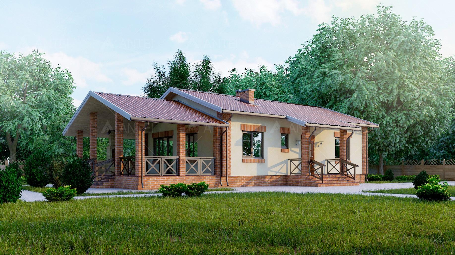 Проект одноэтажного дома с террасой «КО-50» - фото №1